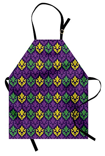 Mardi Gras Apron by Ambesonne, Antique Old Fashioned Motifs in Mardi Gras Holiday Colors Tile Pattern, Unisex Kitchen Bib Apron with Adjustable Neck for Cooking Baking Gardening, Purple Green Yellow (Tiles Yellow Purple)