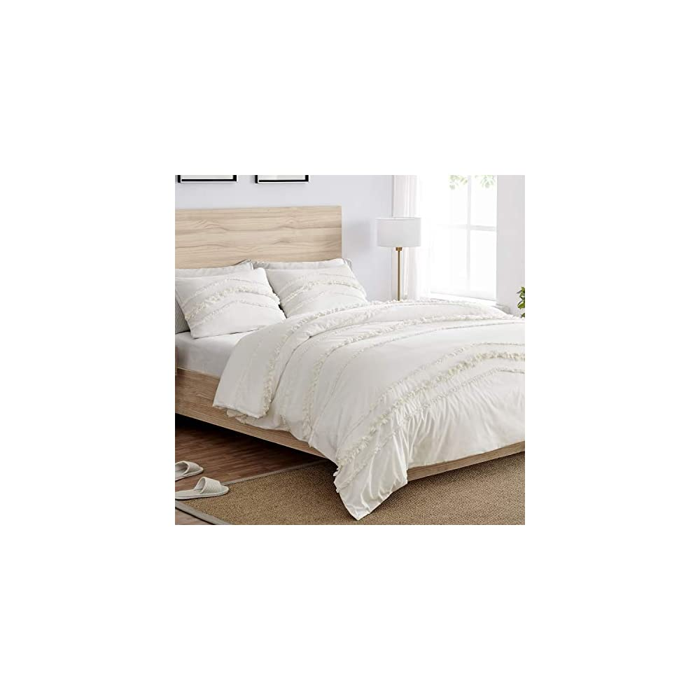 Bohemian Boho Chic Ivory Macrame Tufted Tassel 3 pc. Full / Queen Size Bed Bedding Set Duvet Comforter Cover Sham Solid…