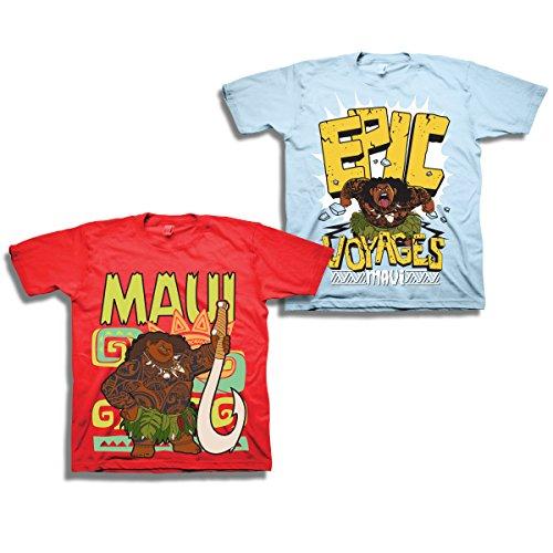 Disney's Pixar Moana Maui Shirt - 2 Pack of Moana Tees - Featuring Moana and Maui (Red/Light Blue, 4T) by Moana