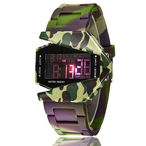 SYNOKE Men's/Boy's Futuristic Air-Planed Shaped Waterproof Colorful LED Light Digital Watch