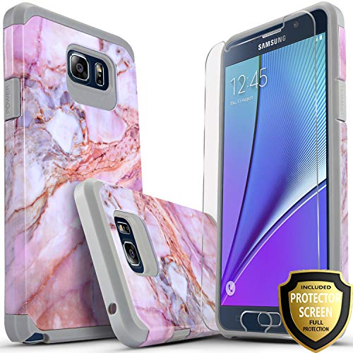 Galaxy Note 5 Case, Starshop [Shock Absorption] Dual Layers Impact Advanced Protective Cover With [Premium HD Screen Protector Included] For Samsung Galaxy Note 5 (Marble Pattern)