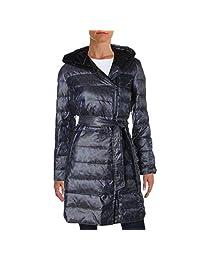Ellen Tracy Womens Animal Print Hooded Coat