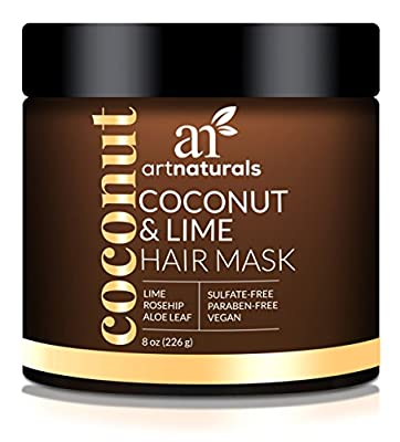 ArtNaturals Coconut and Lime Hair Mask – 8 Oz – Replenishing Hydration – Deep Conditioner For All Hair Types – Sulfate-Free, Paraben-Free and Vegan – Coconut, Lime, Aloe Vera and Rosehip