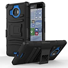 Lumia 950 XL Case - MoKo [Heavy Duty] Full Body Rugged Holster Cover with Swivel Belt Clip - Dual Layer Shock Resistant Lumia 950 XL Case 5.7 Inch (2015 Release), BLACK