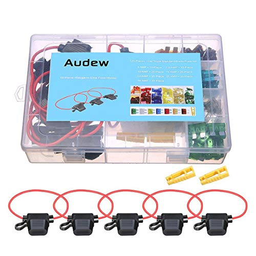 AUDEW Car Blade Fuse Set 120pcs Standard Assorted Fuses + 10 Inline Fuse Holders Automotive Replacement Fuses for Car Truck SUV RV Boat (5/7.5/10/15/20/25/30 AMP) by Audew