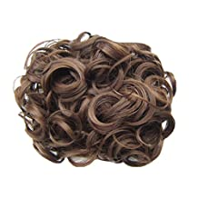 PrettyWit Hair Bun Extension Short Messy Curly Easy Stretch Hair Combs Clip in Ponytail Extension Scrunchie Chignon Hairpieces-Medium Chestnut Brown 8#
