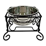 *10-Inch* Large Wrought Iron Stand Chew Free With Single Stainless Steel Dog Cat Bowl Review