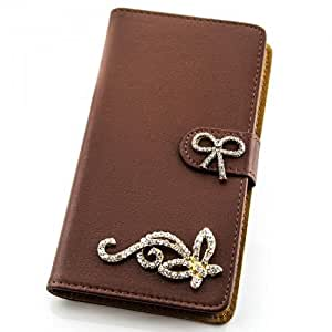 Portatil Style Design–Funda con función atril y diseño de diamantes de imitación (Butterfly) Flip Cover Funda Carcasa Funda Case Modern Bag para Apple iPhone 44G 4S en marrón
