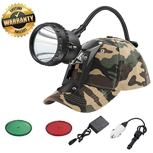 GearOZ Powerful Miner Headlamp with 4 LED White Light Modes for Mining Safety/Equipped Rechargeable Battery/Free Red&Green Len Filters for Coyote/Predator/Coon Hunting/IP 68 Waterproof
