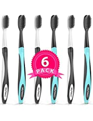 BEST DEAL Charcoal Toothbrush Ultra Soft (6 Pack) - Gentle, Slim Head, Medium Tip - Remove Plaque, Whiten Teeth- Works Well w/Charcoal Toothpaste & Charcoal Teeth Whitening Powder for Adults & Kids