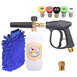 15 foam dispensing gun - GDHXW X-884 Complete Set Box for car Washing 3000 PSI High Pressure Snow Foam Lance Foam Cannon Foam Blaster M22 Thread Conversion Adapter 5 Pressure Washer Nozzles Cleaning Gloves