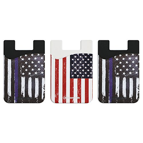 Holder for Back of Phone -Thin Blue Line & American Flag Silicone Stick on Cell Phone Wallet with Pocket for Credit Card, ID, Business Card - iPhone,(Thin Blue Line, American Flag) (Silicone Flag)