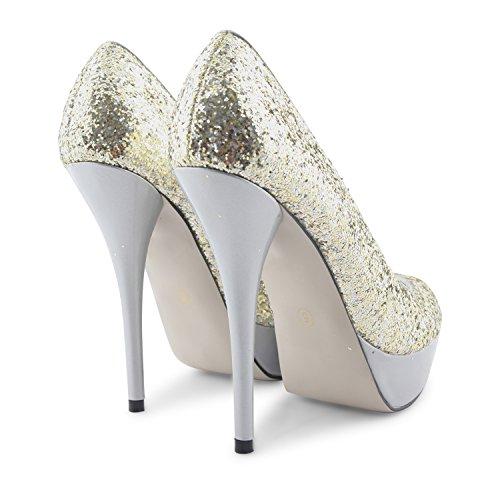 Footwear Sensation - Zapatos de vestir para mujer Plateado - plata