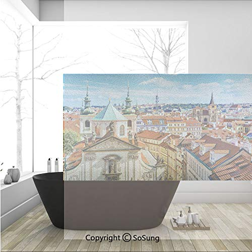 3D Decorative Privacy Window Films,Scenic Summer View of The Old Town Prague with Sky Europe Heritage Art Deco,No-Glue Self Static Cling Glass Film for Home Bedroom Bathroom Kitchen Office 36x24 Inch]()