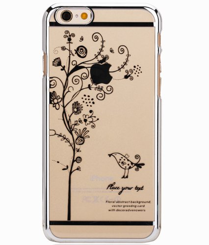 iPhone 6 Case, Hundromi(TM) Plastic Plated Transparent Slim Hard Case Cover with Tree and Brid Design for Iphone 6 4.7 Inch(Silver )
