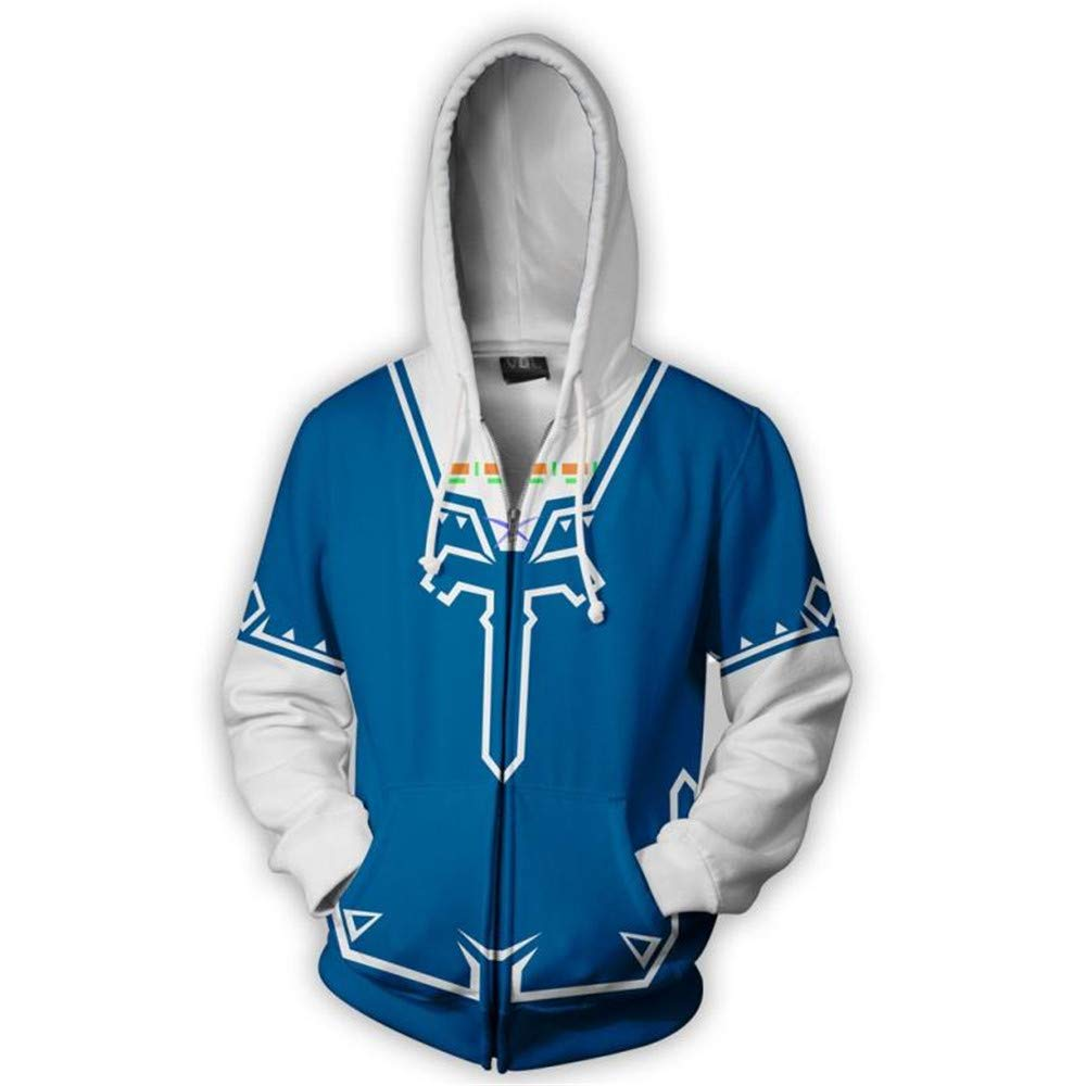 VOSTE Zelda Costume Link Hooded Sweater Hyrule Warriors Zipper Coat Jacket (Small, Color 4)