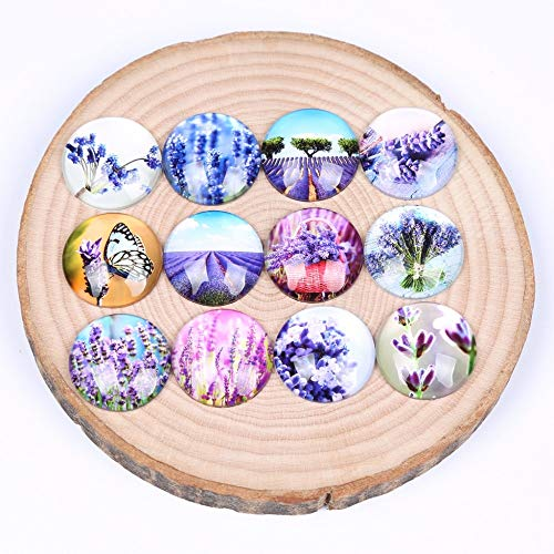 Round Cabochon Lavender - Laliva Mix Purple Lavender Flower Photo Round Dome Glass cabochon 12mm 14mm 18mm 20mm 25mm DIY Earring Jewelry findings - (Size: 18mm 50pcs)