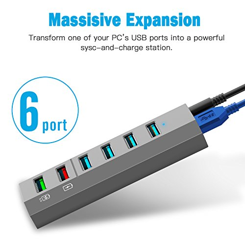 Aiibe 6-Ports USB 3.0 Hub Phone Charger with 24W Power Adapter and 1 Quick Charging Port & 1 Smart Charging Port for iPhone X/8/8s Plus, iPad, Galaxy S Series, Note Series, Mac, PC and More,Gray by Aiibe (Image #1)