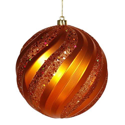 Vickerman Burnt Orange Glitter Swirl Shatterproof Christmas Ball Ornament 8 (200mm)