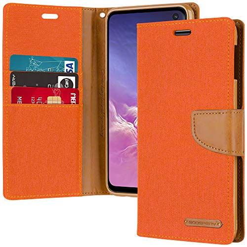 (Galaxy S10e Wallet Case, Goospery Canvas Diary [Denim Material] Stand Flip Cover with Card Holder & Magnetic Closure (Orange) S10L-CAN-ORG)