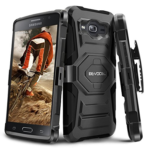 Evocel® Galaxy On5 [New Generation] Rugged Holster Dual Layer Case [Kickstand][Belt Swivel Clip] For Samsung Galaxy On5, Black (EVO-SAMON5-XX01) (Phone Case Samsung Galaxy 5)