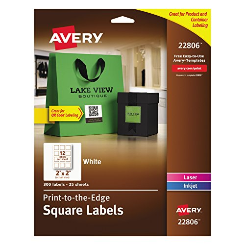Avery Easy Peel Print To The Edge  Permanent White Square Labels With True Block  2 X 2   Pack Of 300  22806