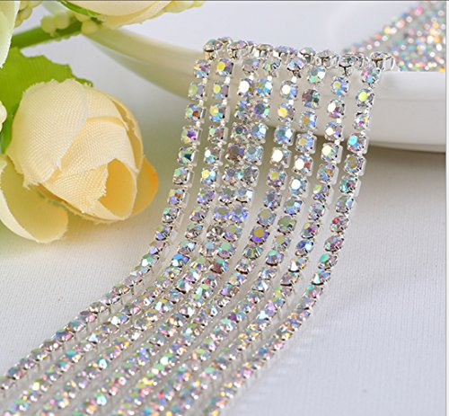 - Honbay 10 Yard Crystal Rhinestone Close Chain Trim Sewing Craft 2.5mm Silver Color (AB)