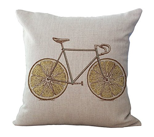 (Miracle Dec Fruit Bicycle Pattern Linen&Polyester Square Throw Pillow Covers Cushion Cases for Couch(17