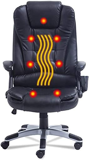 Nexttechnology Massage Chair 7 Point Vibrating 360 Degree Rotation Office Chair Home Leather Computer Chair Height Adjustable Exetutive Gaming Massage Chair 7 Point, Black