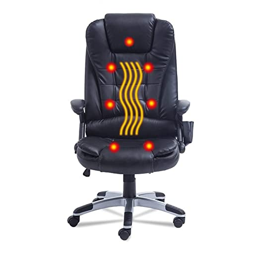 Nexttechnology Massage Chair 7 Point Vibrating 360 Degree Rotation Office Chair Home Leather Computer Chair Height Adjustable Exetutive Gaming Massage Chair 7 Point