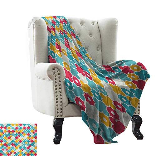 Quatrefoil Blankets Kids Colorful Petal Clover Leaves Pattern Bohemian Casual Kids Theme 60