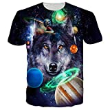 Goodstoworld Unisex 80s Galaxy Space Wolf Design Fashion Casual Round Neck T Shirt Tees Clothing For Women Men,Galaxy Wolf 1,US L - Asian XL