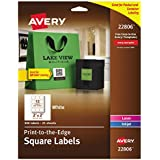 """Avery Easy Peel Print-To-The-Edge, Permanent White Square Labels with True Block, 2""""x 2"""", Pack of 300 (22806)"""