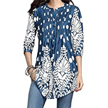 GOVOW Womens 3/4 Sleeve Roundneck Floral Tunic Tops Loose Blouse Button up Shirts