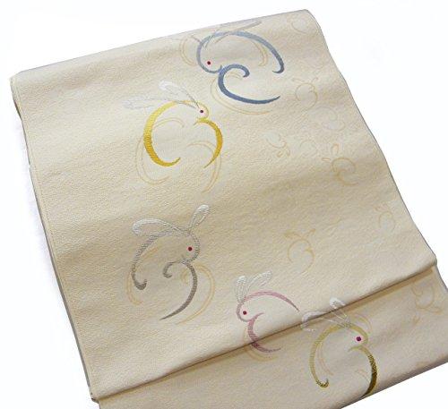 誇張する工業化するぬれた西陣織 正絹名古屋帯 生成り地 うさぎ 六通 お誂え芯?仕立て付き