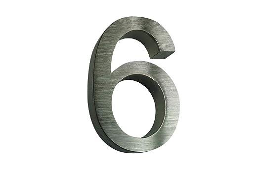 número de casa Acero Inoxidable nº 6/H16 cm/Filigrana Texto ...