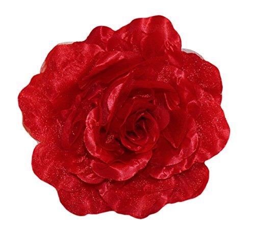 WD2U Extra Large Chiffon Rose Silk Flower Hair Bow Alligator Clip Brooch Red 325