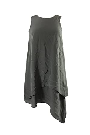 97f02e2852393c Image Unavailable. Image not available for. Color  Eileen Fisher Olive Silk  Asymmetrical-Hem Shift Dress XS