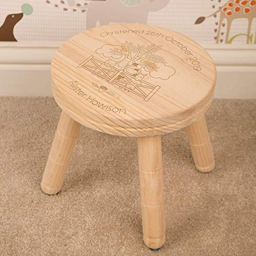 Strange Laser Engraved Wooden Milk Stool Farm Animal Design Caraccident5 Cool Chair Designs And Ideas Caraccident5Info