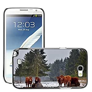 GoGoMobile Slim Protector Hard Shell Cover Case // M00117566 Animals Cows Snow Landscape Trees // Samsung Galaxy Note 2 II N7100