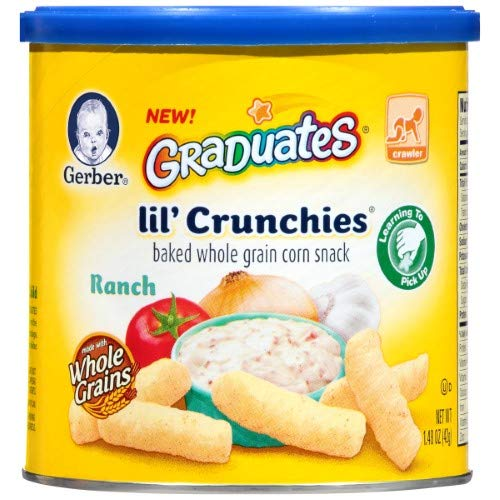 Gerber Lil' Crunchies Baked Whole Grain Corn Snack, Ranch (Pack of 24)