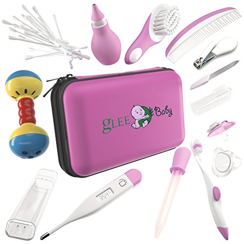 Baby Grooming Kit - Girl |100% Safe Health Care Pack | Made from High-Grade Stainless Steel & BPA-Free Plastic | Nursery Essential Set for Babies | Includes Infant Comb, Nail Clipper (Pink) from gLEE Baby