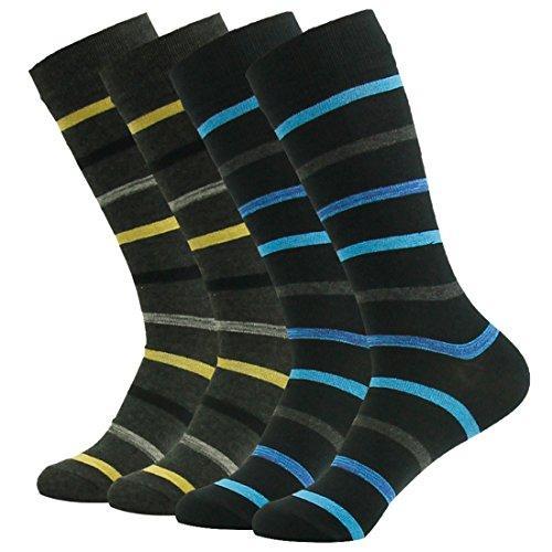 SUTTOS Mens Crazy Wonder Fun Black Yellow Blue Fancy Striped Rib Pattern Cotton Flat Knit Mid Calf Long Tube Casual Boot Socks,4 (Fancy Dress Superheroes)