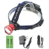 Genwiss LED Headlamp Head Lamp Super XML T6 3000 Lumens 3 Modes Waterproof Zoomable Front Lights Adjustable Focus Headlight Rechargeable Batteries, Car Charger, Wall Charger