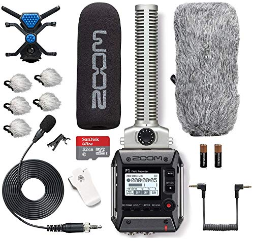 Zoom F1 SP+LP Field Recorder with Shotgun and Lavalier Microphone Combo Pack Bundle Includes Deadcat Windscreens & 32GB Micro SDHC Card