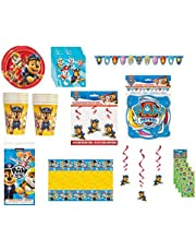 Paw Patrol Birthday Party Bundle for 16 ~ Includes Plates, Napkins, Cups, Table Cover, Jointed Banner, Hanging Swirl Decorations, Stickers