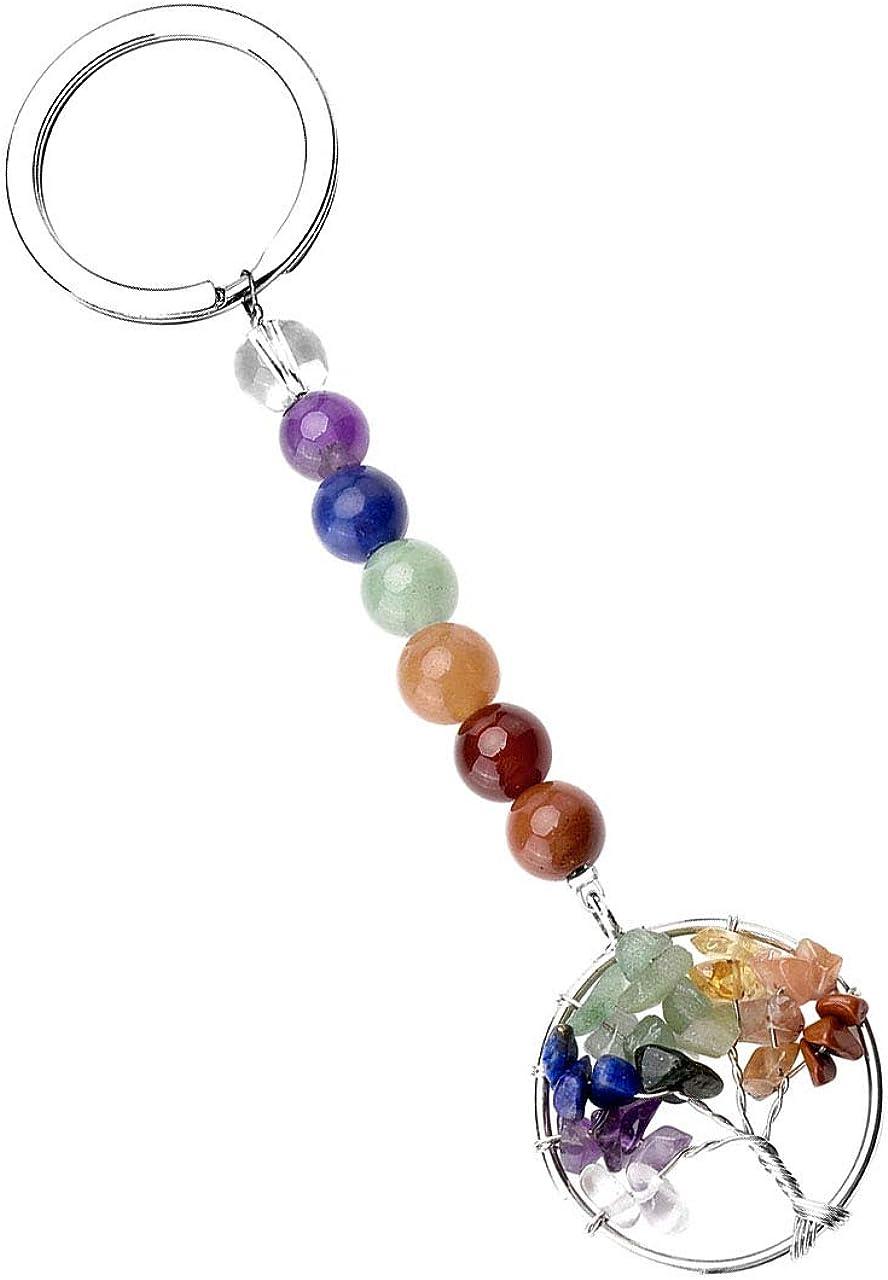 PESOENTH 7 Chakra Gemstone Bead Wire Wrapped Tree of Life Crystal Healing Pendant Keychain Keyring for Women Girls