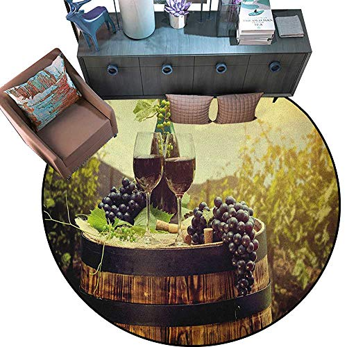 "Wine Round Soft Area Rugs Scenic Tuscany Landscape with Barrel Couple of Glasses and Ripe Grapes Growth Perfect for Any Room, Floor Carpet (79"" Diameter) Green Black Brown"