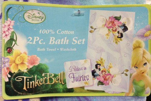 Disney Tinkerbell 2 Piece Bath Towel Set ~ Can Be Used for Beach