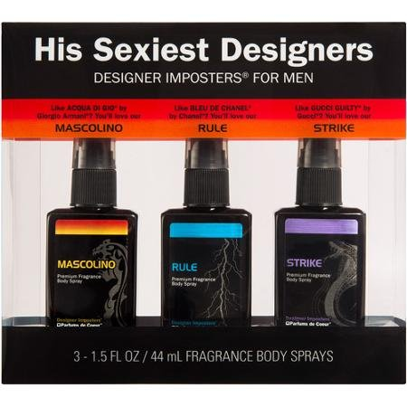Fragrance Imposters (Designer Imposters for Men His Sexiest Designers Mascolino/Rule/Strike Fragrance Body Sprays, 1.5 fl oz, 3 count)